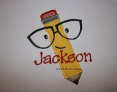 Pencil with Glasses School Shirt Boy/Girl Personalized Applique