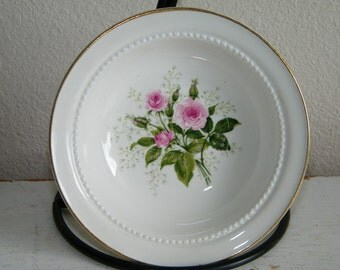 """6 Vintage HALL China Heather Rose 5 1/4"""" Berry BOWLS Bowl 6214"""