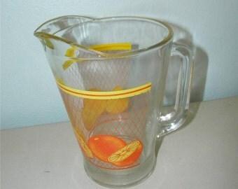 Vintage Oranges Glass Pitcher Orange Citrus Fruit 11182