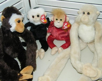 4 Beanie Babies Monkey Mooch Schweetheart Door Hanger Aurora Plush 7889 Chimp