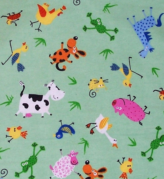 Fabric remnant soft childrens flannel green mint farm for Childrens animal fabric