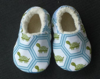 Baby Shoes, Turtle Print, Baby Boy, Baby Slippers, Baby Booties, Soft Sole Baby Shoes,Cotton, Blue