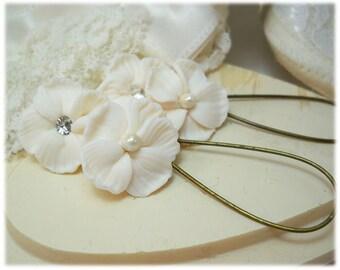 White Hibiscus Bridal Dangle Earrings - White Hibiscus Drop Earrings, White Flower Earrings