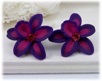 Purple Pink Orchid Earrings Studs - Violet Orchid Studs, Violet Pink Purple Flower Earrings, Fuchsia Flower Studs, Tropical Earrings