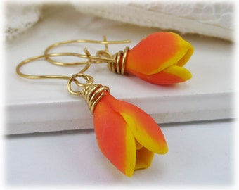 Peach Tulip Earrings - Tulip Jewelry, Spring Flower Earrings Jewelry, Mother Gift Idea