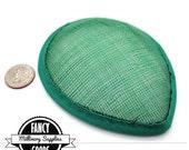 1 - Green - Teardrop Hat Base - Sinamay Straw - Fascinator - Hat Foundation - Millinery