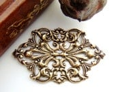 ANTIQUE BRASS Art Nouveau Scrolling Leaf Stamping - Jewelry Ornament Finding (FC-1) #