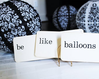 Vintage Flash Cards Be Like Balloons Photo Prop Set Dick and Jane School Word Cards Inspirational