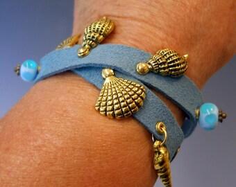Suede Bracelet, Ribbon Leather Bracelet, Sea Shell Charm Bracelet, Aqua Blue Leather Bracelet, Handmade Glass Beads