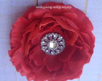 "Red Flower Clip Red Hair Flower Red Hair Clip Red Ruffle Ranunculus 4"" Clear Rhinestone Flower Clip Wedding Bridesmaid Flower Girl Hair Flow"