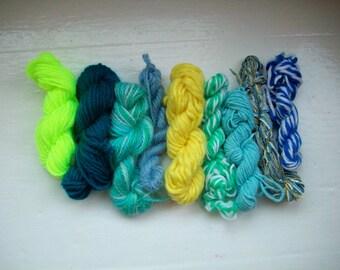SALE Grab bag assorted yarn 50g turquoise, yellow GB JU5