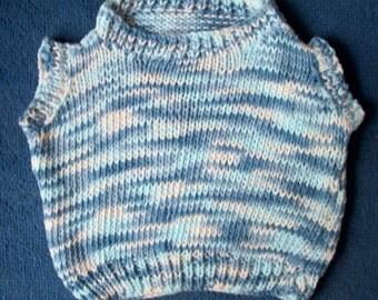 Baby toddler vegan soft knit cotton tank top vest slipover blue cream