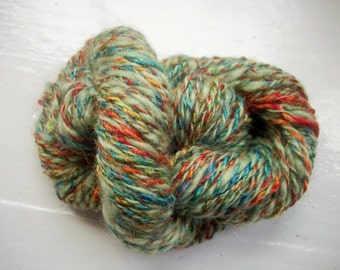 Handspun merino yarn -  pale sage green, multi rainbow