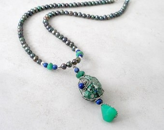 Blue Green Gemstone Pearl Pendant Necklace- Wearable Art Wire Wrapped Modern Sculptural Fashion Jewelry For Women- Chrysoprase, Lapis Lazuli