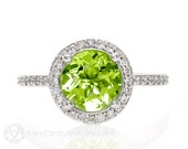 Peridot Ring Diamond Halo Peridot Engagement Ring 14K or 18K Gold Custom Gemstone Ring August Birthstone
