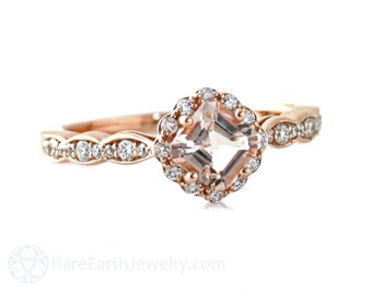 Morganite Ring Rose Gold Asscher Morganite Engagement Ring Diamond Halo Gemstone Ring Wedding Ring
