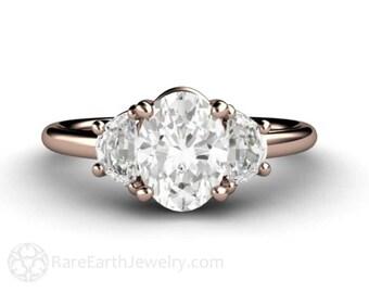 Moissanite Engagement Ring Moissanite Ring Oval 3 Stone Forever Brilliant Conflict Free Custom Wedding Ring