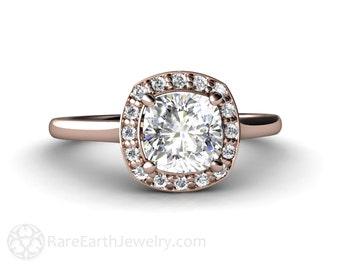 Moissanite Engagement Ring Petite Cushion Halo Diamond Halo Moissanite Ring Diamond Alternative Bridal Jewelry 14K 18K or Platinum