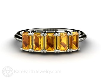 Yellow Sapphire Band Yellow Sapphire Ring Anniversary Band Wedding Ring Gemstone Ring
