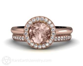 Round Halo Morganite Engagement Ring and Wedding Band 14K 18K Morganite Ring Diamond Halo Custom Engagement Ring