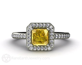 Yellow Sapphire Engagement Ring Princess Sapphire Ring Conflict Free Diamond Halo 14K or 18K Gold Gemstone Ring