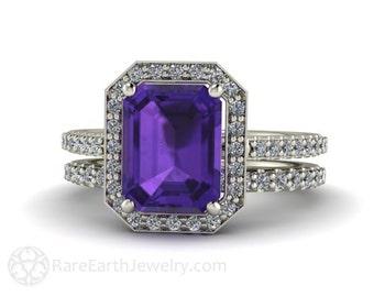 Amethyst Wedding Set Amethyst Engagement Ring and Wedding Band Emerald Diamond Halo Amethyst Ring 14K or 18K Gold February Birthstone