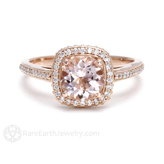 Morganite ring diamond halo morganite engagement ring conflict free in