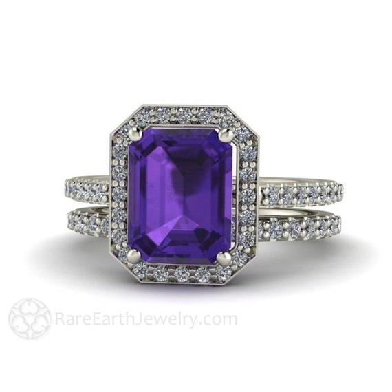 Amethyst wedding set amethyst engagement ring and wedding band for Amethyst diamond wedding ring set