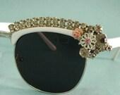 SALE Vintage style clubmaster sunglasses rhinestones