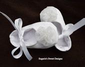 Infant Baptism, Christening or Wedding Mary Jane Crib Shoes in White