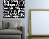 love joy script Typography Canvas Wall  Art graphic art on gallery wrapped canvas by stephen fowler