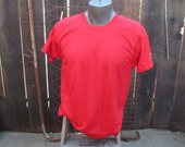 Deadstock Red Tshirt vintage 70s Penneys Cotton Shirt  M