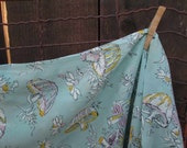 """Vintage 70s Mushroom Fabric pale Turquoise and Pink sheer material polyester chiffon 42"""" wide 2 3/4 yds."""