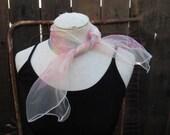 70s Vintage Nylon scarf Sheer Pink checks vintage 70s hair bow square blue scarf