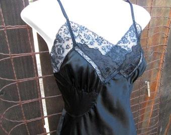 Barbizon Black Slip vintage 50s Black Lace Slip 1950s Vintage Wedding lingerie nylon slip S