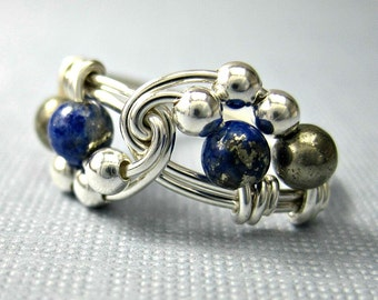 Lapis Lazuli, Pyrite and Sterling Silver Wire Wrapped Vortex Ring