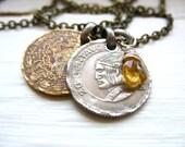 Citrine Necklace, Coin Jewelry, Citrine Gemstone Coin Charm Necklace, Faceted Citrine Birthstone Coin Jewelry, Gemstone Jewelry