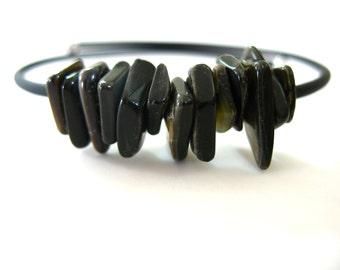 Shell Bracelet, Black Lip Shell Bracelet, Handmade Shell Jewelry, Cuff Bracelet, Black Shell Jewelry