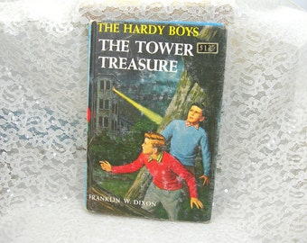 "Hardy Boys Book by Franklin W. Dixon, ""The Tower Treasure"", Vintage Book, Printed 1959, Hardback, Boys' Reading"