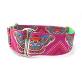 "1.5"" or 2"" Dog Collar Clarice Starling Magenta martingale or buckle collar"