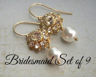 Bridesmaid earrings pearl earrings gold filigree earrings white pearl earrings ivory pearl earrings gold rhinestone earrings bridesmaid gift