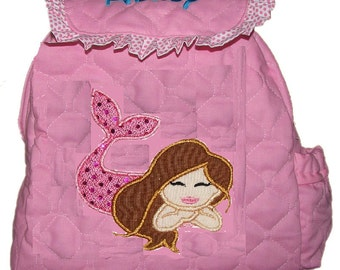 MERMAID Toddler Girl Backpack with Mermaid Applique Choose Your Fabrics for the Applique and Trim Personalization included. CUSTOM HANDMADE