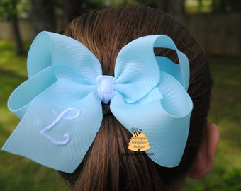 Monogrammed Large Hair Bow Set - Personalized Jumbo Bows - 5 Inch Hairbows - Preppy Hairbows - Large Hairbow Set - Monogrammed Initial Bows