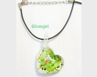 Lampwork Floral Encased Glass Heart Pendant Necklaces, Green, Blue