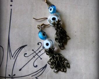 Blue and White Evil Eye Tassel  Earrings