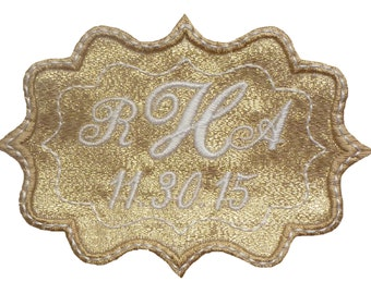 Bethany Embroidered and Personalized  Wedding Gown Frame Style Label in Sparkly Gold