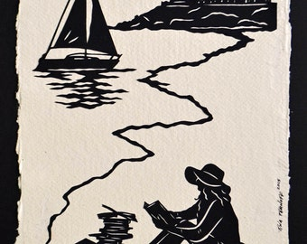 Sale 20% Off // Hand-Cut Papercut Art - AFTERNOON READING on the BEACH - Girl Reading Silhouette // Coupon Code SALE20