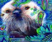 original art color pencil drawing 16x20 otter pup zentangle design abstract