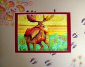 original art  drawing 16x20  colorful moose tracks zentangle