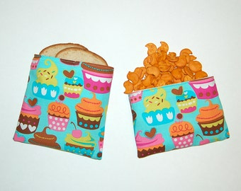 Sweet Cupcakes (Aqua) - Eco Friendly Reusable Sandwich and Snack Bag Set